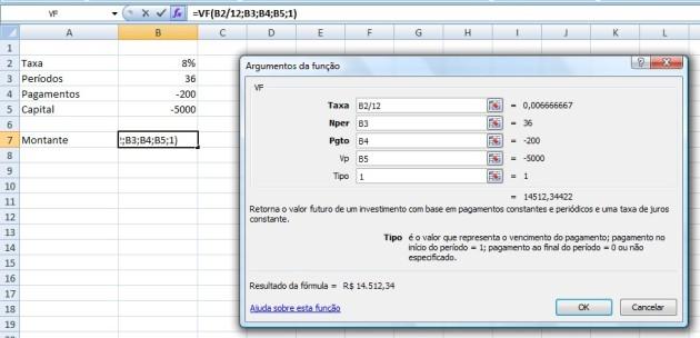 Uso da Função FV Excel