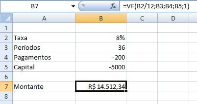 Montante ou resultado da função FV no Excel
