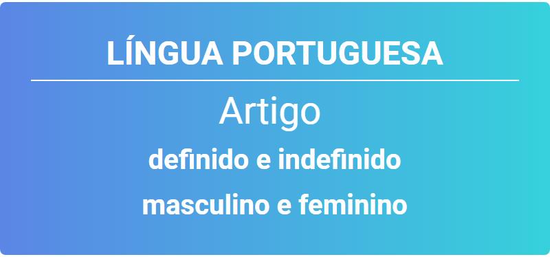 Artigo Definido E Indefinido Masculino Feminino Singular E Plural