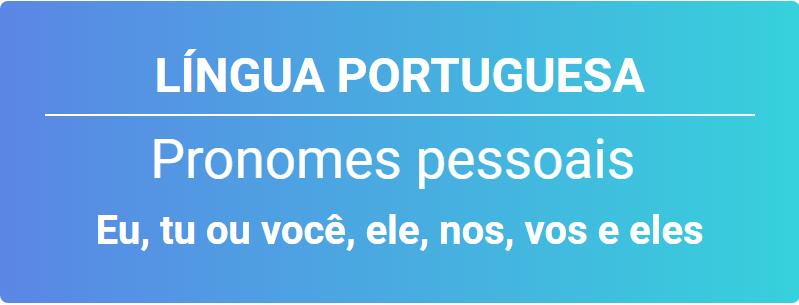 pronomes pessoais singular e plural