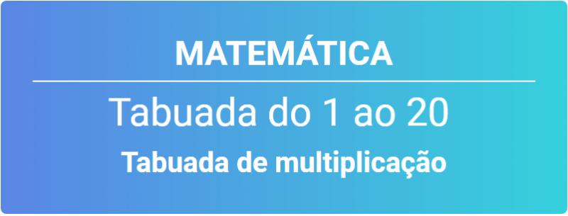 Tabuada de multiplicação do 1 ao 20